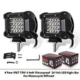 ZHITEYOU 1 paio 4 righe IP67 72W 4 pollici impermeabile 24 Volt LED Light Bar per moto offroad