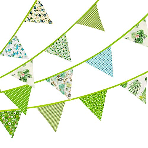 Whaline 12 Pcs Fabric Bunting Banner,11.8 Feet Double Sided Triangle Flags, Vintage Floral Design Party Bunting for Wedding Birthday Baby Shower Home Decoration (Green)