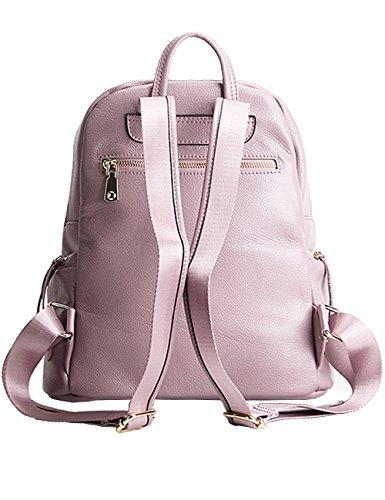 CUKKE Damen Echtes Leder Rucksack Wandern Reisetasche Pink Pink