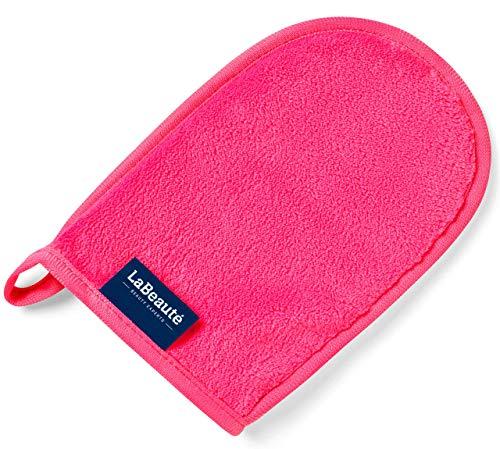 LaBeauté Make-Up Entferner-Handschuh, Gesichtsreinigung und Abschmink-Handschuh, waschbar und wiederverwendbar (20x13 cm, Pink)