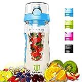 Wasserflasche, Degbit [BPA-freiem Tritan] Kunststoff Trinkflasche Sport, Flasche ca. 1L, Sportflasche Auslaufsicher, Trinkflaschen BPA Frei Infuser mit Verschluss & Tragehenkel, Wasserflasche Blau
