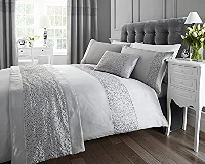 Silver Sequined Double Quilt Duvet Cover and 2 x Pillowcase Bedding Bed Set Modern Luxury Glamour - cheap UK light store.