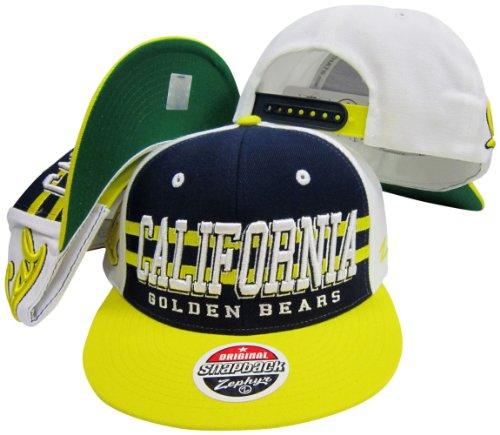 Zephyr California Golden Bears Drei Tone Snapback Hat/Cap Throwback Hat Cap