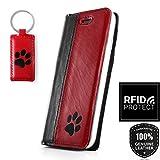 SURAZO Schwarz Pfote RFID Smart Magnet - Premium Vintage Ledertasche Schutzhülle Wallet Case aus Echtesleder CostaLeder Farbe Schwarz, Rot für Apple iPhone X (5,80 Zoll)