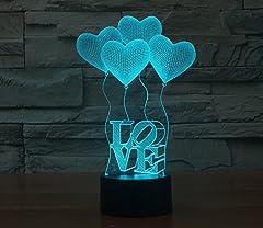 Idea Regalo - 3D night light LED night light quattro cuore amore colorato cambiando colore lampada da tavolo giocattolo regalo lampada