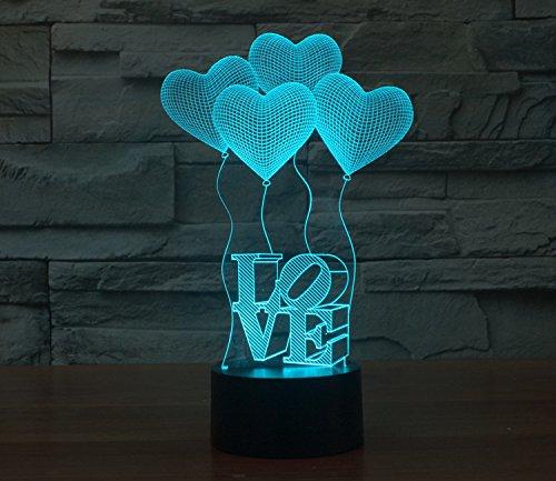 3D-Nacht-Lampe, 7Farben, Tisch-Lampe, Weihnachts-/Spielzeug-Geschenk Four Hearts Love
