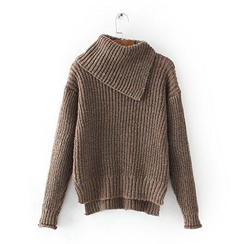 MEI&S Baggy femmes tricoter Pull col montant haut chandail tricoté de cavalier Bean paste Color
