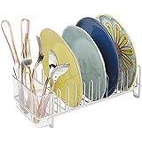 mDesign égouttoir à vaisselle pour la cuisine – avec un range couverts – egouttoir vaisselle inox pour assiettes, verres, tasses, etc. – en acier – satiné / transparent