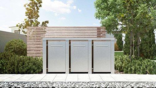 Mülltonnenbox Flachdach Plandesign Edelstahl 120 Liter 3 Mülltonnen