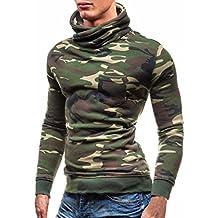 Hombres Sudadera Manga larga Camuflaje Capa Chaqueta Suéter tipo con cuello de tortuga Tops Blusa LMMVP (M, Verde)