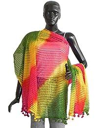 DollsofIndia Multicolor Striped Synthetic Chunni - 42 X 76 Inches (OG93) - Multicolor
