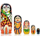 Toolart® Set Of 5 Piece Hand Paint Wooden Shiv Family Stacking Nested Wood Dolls