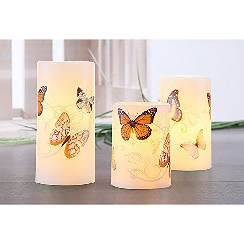 rzen LED-Wachs-Kerzen-Set Leuchten Wachs Flammenlos Weiß Motiv Schmetterlinge ()