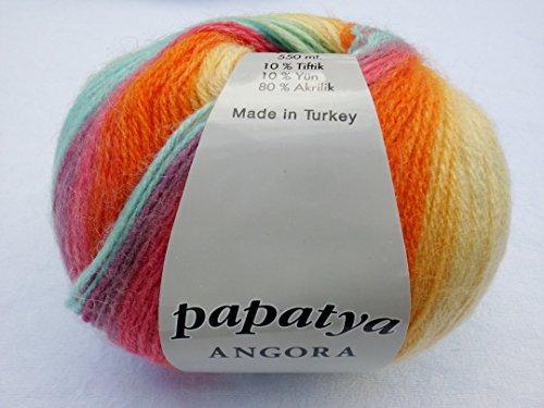 Papatya Angora Batik 556-12 Bunt - 100g Wolle/Garn Zum Häkeln und Stricken