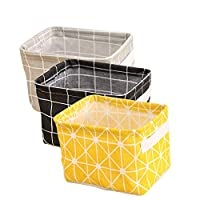 Xiluck Waterproof Storage Basket,Square Storage Baskets,Folding Waterproof Burlap Cotton Clothing Small Storage Basket Toy Daily Necessities Cosmetics Jewelry Storage Bag Square With Handles(3pack)