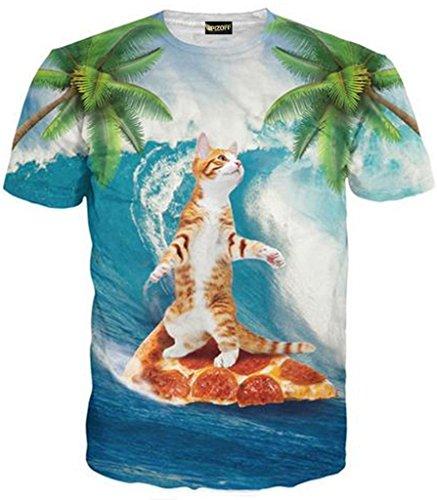 Pizoff unisex Herren T-Shirt Sommer Rundhalsausschnitt kurze Ärmel Surfen pizza katzen Muster in Mode Spaß Hip Hop bequeme Tops, Y1625-89, Gr. L(EU-M)