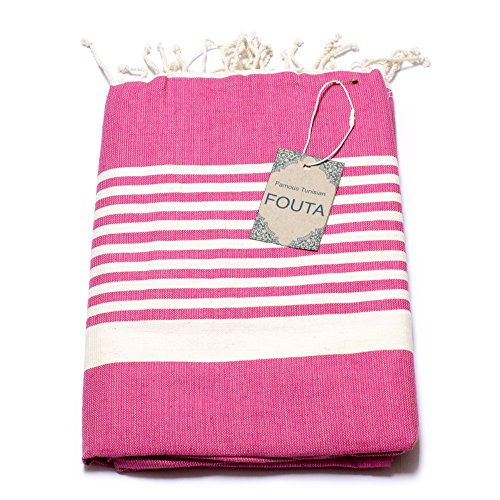 Fouta Hamam-Tuch Sauna-Tuch Pestemal Peshtemal XXL Extra Groß 197 x 100cm - 100% Baumwolle aus Tunesien als Strand-Tuch, für Bad, Picnic, Yoga, Schal (Orientalisches Türkisches Bade-Tuch) (Rosa-Weiß))
