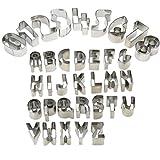 HUAFA 35 Stück Ausstechformen für Keks Fondant - Alphabet Nummer Mathematische Symbole Backzubehör Ausstecher mit Aufbewahrungsbox, Edelstahl