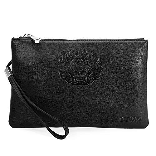 Echtes Leder Clutch Bag, Herren Lange Geldbörsen für Kreditkarteninhaber Clutch Men Taschen Zip Pocket Office Aktentasche, schwarz -