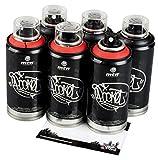 Sprühdosen MTN Graffiti Pocket Cans klein rot und schwarz Farben im Set 6x150ml