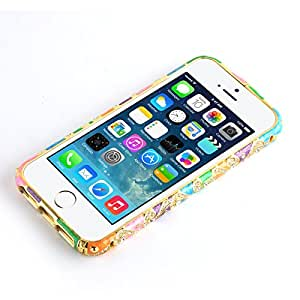 JAMMYLIZARD | Bumper iPhone SE et iPhone 5 5s Coque de contour cachemire et diamants, Arc-en-ciel