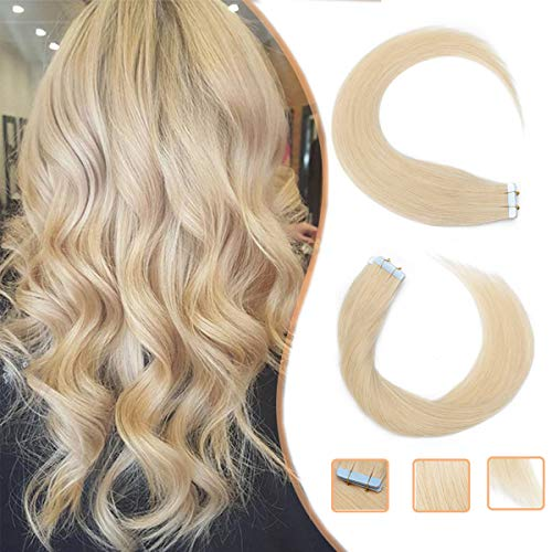 "Extensiones Adhesivas Rubias Platino de Cabello Natural Pelo Natural Humano Balayage sin Clip Tape in 100% Human Hair Lisa [ 1.5g * 20 Piezas] - 14"" (35CM) #613 Blanqueador Rubias"
