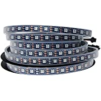 ALITOVE 16.4ft 300 Pixels WS2812B RGB LED Flexible Strip Light Individually Addressable Dream color Waterproof IP67 Black PCB DC 5V