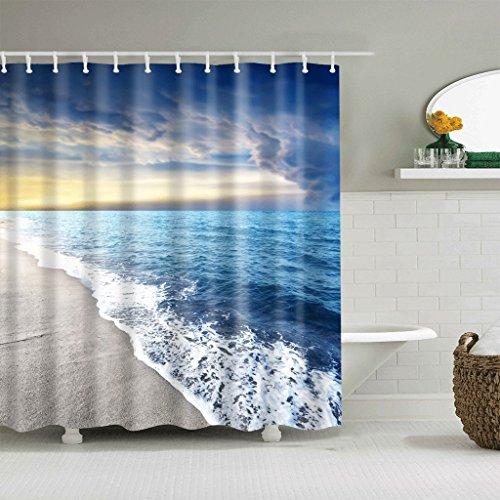 Pride S Duschvorhänge Twilight Strand Muster Wasserdicht Quick to Dry Umweltschutz Materialien Metall Hängeloch Hook Up Shower Curtains (größe : 180 * 180cm)