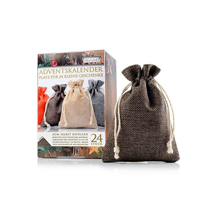 Jutesäckchen | Jute-beutel | Jute-Sack 24er Set für Adventskalender mit Geschenk-Verpackung, 13cm x 9,5cm, Jutebeutel…
