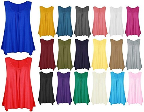 Crazy Girls Womens Gathered Round Neck Stretch Swing Long Vest Flared Hanky Top