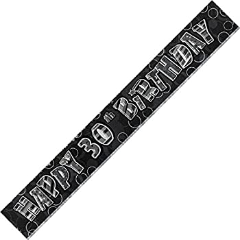BLING Party Decorations And Tableware For 30th Birthday In BLACK SILVER Glitz 30 Foil Banner