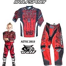 S 49-50cm + Occhiali XL S 5cm 11-12 Anni Guanti + Tuta da Motocross per Bambini Leopard LEO-X15 Nero Opaco Casco da Motocross per Bambini