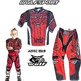 Nuovi WULFSPORT AZTEC MX Bambini Tuta Moto Pantaloni e Maglia Bambini Moto Scooter ATV Quad...