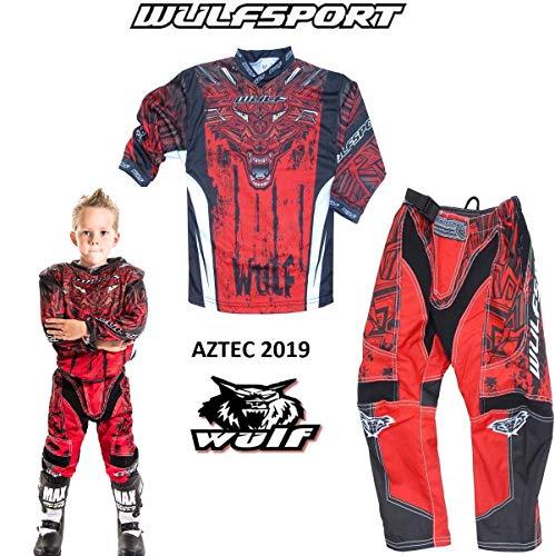 WULFSPORT AZTEC MX Bambini Tuta Moto Pantaloni e Maglia Bambini Moto Scooter ATV Quad Motocross vestito de capretti (11-13 anni, Rosso)