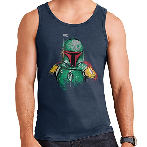 Mandalorian Boba Fett Sumi e Star Wars Men's Vest Navy Blue