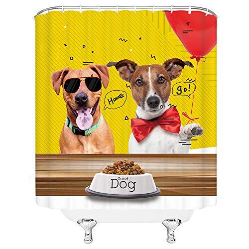 asadsafe Roter Ballon Schwarze Brille rote Fliege süßer weißer gelber Hund hochwertiger Duschvorhang, mehltau- und wasserdichter Langer Duschvorhang