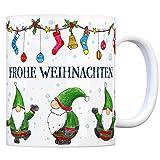 trendaffe - Kaffeebecher mit Wichtel Weihnachtsmotiv und Spruch: Frohe Weihnachten