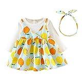 HARRYSTORE Baby Langarm Fruit Print Kleid Neugeborenen Mädchen Gefälschte Zweiteilige Floral Prinzessin Kleid Stirnband Kleidung Set Fruit Printed Princess Dress
