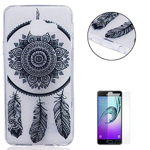 Samsung Galaxy A3 2016/A310F gel di Silicone Caso (con Gratuito Proteggi schermo) CaseHome Retro Annata (Tatuaggio Di Gomma)