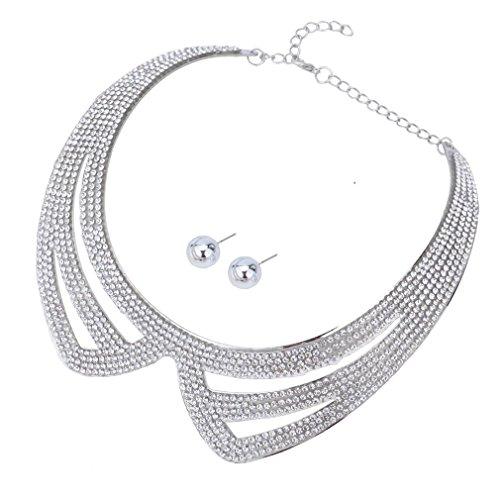 YAZILIND Charm plaqué Col Collier Déclaration Bib Choker et Boucles d'oreilles Set pour les femmes Jewerly Style 3