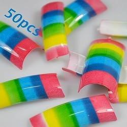 50 Rainbow Stripes Style False French Acrylic Nail Art Tips NEW by 350buy