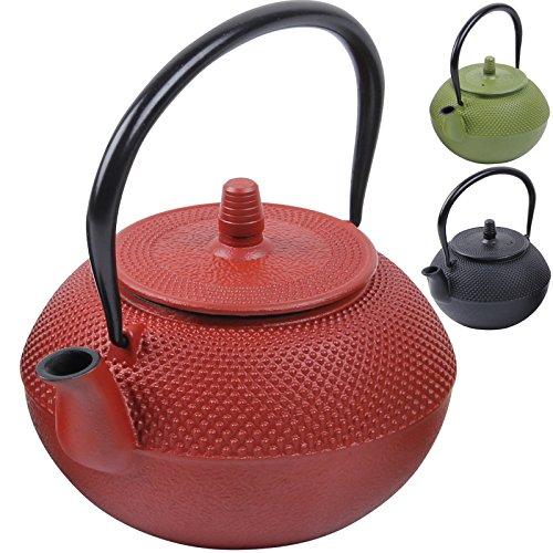 Teiera in ghisa dal design tradizionale giapponese con filtro da tè in acciaio inossidabile - volume: 1250 ml - rivestimento di smalto rosso