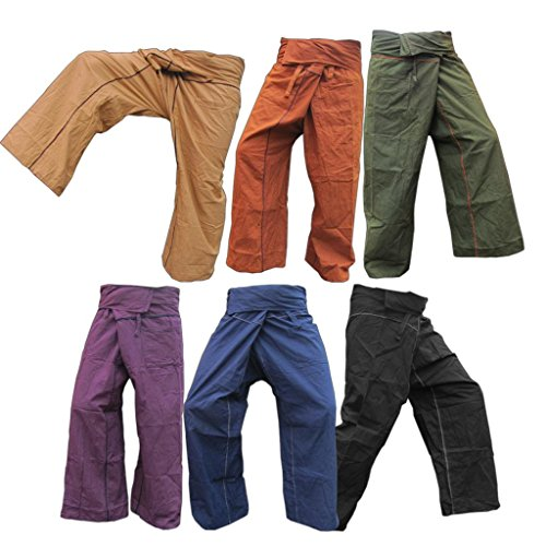 Panasiam Thai Fisherman Hose, aus echter fester Baumwolle, Size S bis XL, passt von 160cm bis 195cm Körpergröße, mit Tasche, hier in 5 verschiedenen Farben, Blitzversand!! Dunkel Blau