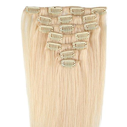 Beauty7 Extensions de cheveux humains à clip 100% Remy Hair #60 Couleur Blond Très Clair Longueur 38 cm Poids 70 grams