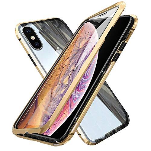 Oihxsetx Schutzhülle für iPhone XS, magnetische Adsorption, doppelseitig, gehärtetes Glas, ultradünn, magnetischer Metallrahmen, vollständiger Schutz, unterstützt kabelloses Aufladen, Gold