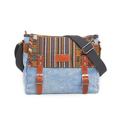Nasis Herren Multifunktions Segeltuch Messenger Bag Schultertasche mit Schulterband AL4178 (khaki) blau