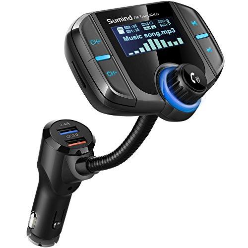 Bluetooth FM Transmitter mit 1,7 Zoll Display und Zwei USB Ports (Schwarz)