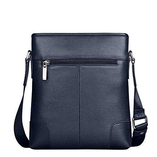 Padieoe Echt Leder Kleine Cross Body Schultertasche Umhängetasche Messenger Bag Reißverschluss Blau(NB141225-4L) Blau