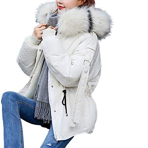 LOPILY Damen Übergangsjacke Steppjacke Dicke Mäntel Reißverschluss Mantel Frauen Hoodie Winterjacke Quilted Jacket Kapuzenjacke(White,XL)