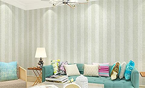Non tissé moderne simple rayures verticales papier peint sain Fond d'écran restaurant TV wall bedroom wallpaper 0.53 * 10 m -Light green / Khaki / Lake Blue , light green